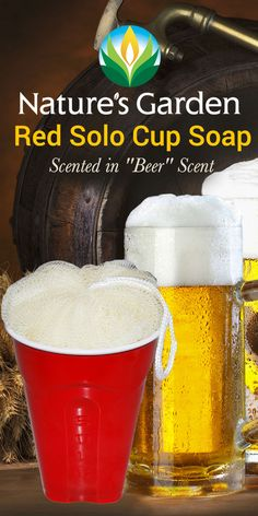 Make Your Own! Just for fun!  Red Solo Cup Soap on a Rope scented in beer scent.  We used a pouf for the foam of the beer to provide exfoliation. #RedSoloCupSoap