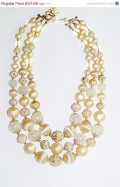 25% Off Vintage Necklace and Earring Set Signed Japan Ivory 3 strand Pearl Wedding Jewelry Second MarriageSpecial Occasion Gift Idea #MHYODesignerPurse #boebot