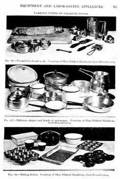 From Housewifery by L.R. Balderston, 1919. Various types of cooking tools.
