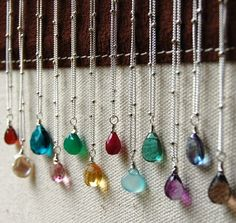 Gemstone Necklace, Sterling Silver, GEMDROP Briolette Collection, Choose Your Color, Birthstone, Lobster Clasp
