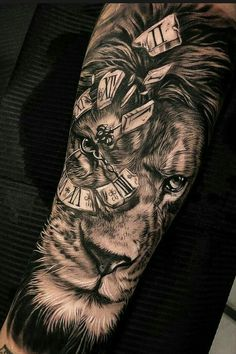 50 Eye-Catching Lion Tattoos That'll Make You Want To Get Inked jaw-dropping black & gray lion tattoo © tattoo artist Dario Castillo 💕💕💕💕💕💕 Lion Forearm Tattoos, Lion Head Tattoos, Mens Lion Tattoo, Forarm Tattoos, Foot Tattoos, Body Art Tattoos, Lion Tattoos For Men, Tatoos, Animal Tattoos For Men