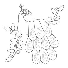 Peacock applique pattern (or should also work for punchneedle)