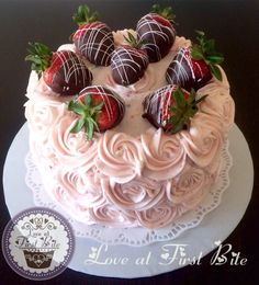 Strawberry Cake topped with Chocolate Covered Strawberries