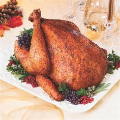 Sage-Rubbed Roasted Turkey: For moist flavorful turkey, rub a savory sage seasoning mixture all over turkey. Also, add water to the roasting pan and loosely cover the turkey with foil for the first hour of roasting.