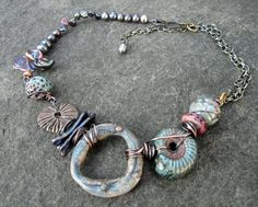 """on Mary Jane Dodd's, Love My Art Jewelry blog . """" This necklace is a collaborative polymer piece with Diana P. (and (?) blog does not say with whom) at Suburban Girl Studio that will be on display at Bead Fest Philly..."""""""