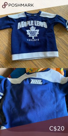 Toronto Maple Leaf Jersey Size 3T  Worn a handful of times NHL Shirts & Tops Jerseys Jet Kids, Studded Combat Boots, Vancouver Canucks, Toronto Maple Leafs, Suede Booties, Kids Shirts, Nhl, Times, Mens Tops