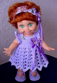 """Order a custom dress.  Email me at little.darlings@yahoo.com Also see my dolls for sale on ebay """"dolldarlings""""  is my store. Or search via:  crochet Baby Face Dolls, Crochet Ann Estelle, & Crochet Betsy McCall. Thank you. dolldarlings"""