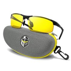 4619a7fa0f BLUPOND Night Driving Glasses - Anti-glare HD Vision - Yellow Tint Polarized  Lens - Safety Sunglasses for Men and Women Plus Car Clip Holder (Titanium