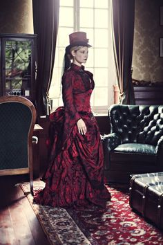 Dark red Victorian dress i made as tribute by AtelierSylphecorsets
