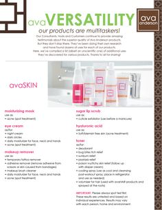 Our products are multitaskers! Page 1 of 6 from our avaVERSATILITY!