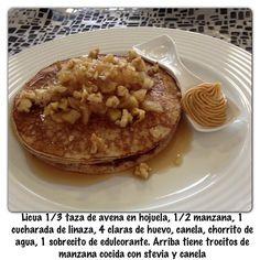 Panquecas de avena con manzana! Desayuno rico,sano y balanceado para mantenerte en forma y con energia! saschafitness