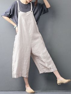 0f16eb97504e O-NEWE Casual Loose Pure Color Strap Pocket Wide-legged Jumpsuits Romper  Long Pants