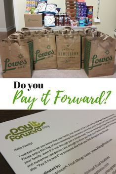 This year, I partnered with Lowes Foods and a bunch of amazing allergy-friendly product brands to take part in the Pay It Forward movement.  #PayItForward #LowesFoods #donate #Banza #CrispyGreen #EnjoyLifeFoods #free2bFoods #LoveGrown #MadeGood #OWYN #Simply7Snacks #SunButter
