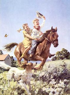 Fun in the sun, western style. Yee Ha. Love this boy and girl rider, horse and dog painting, vintage style