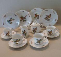 German Child's Tea Set Birds and Butterflies