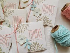Love these gorgeous little thank you notes. SAB 2014 Petal Parade, Hip Notes, Crisp Cantaloupe, Pool Party, Crumb Cake
