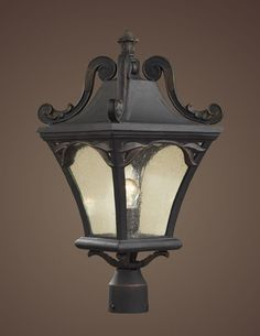 ELK Lighting 42045-1 One Light Post Light In Weathered Charcoal And Seeded Glass
