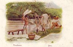 Washing man, Java, date unknown