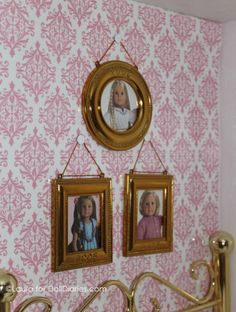 Idea: Take photo of American Girl doll, print to wallet size and put in extra small frame on wall of dollhouse!