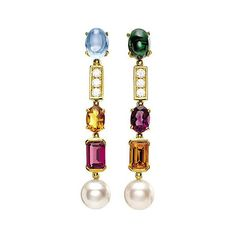 Coriandoli allegra 18ct yellow-gold, gem, pearl and diamond earrings (€8.215) ❤ liked on Polyvore featuring jewelry and earrings