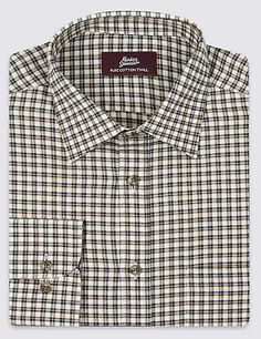 Pure Cotton Twill Checked Shirt | M&S