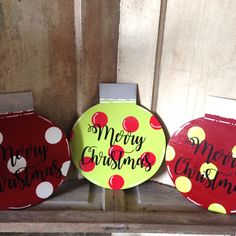 Great wreath attachments. Wooden Merry Christmas Ornaments