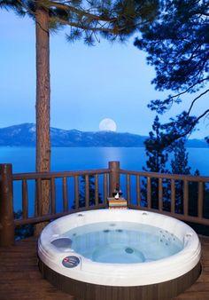 Howard Hughes's £12.9 million log cabin: Hot tub overlooking Lake Tahoe