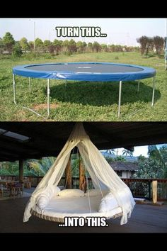 Turn a trampoline into a hanging outdoor bed as a new take on the hammock idea for relaxing. Turn a trampoline into a hanging outdoor bed as a new take… Trampolines, Outdoor Projects, Home Projects, Outdoor Decor, Outdoor Fun, Craft Projects, Diy Casa, Diy Hanging, Hanging Chairs