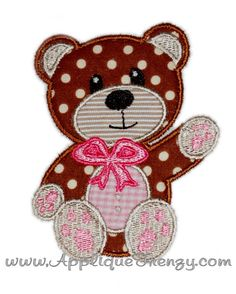 Bear machine embroidery applique design by AppliqueFrenzy on Etsy in blue
