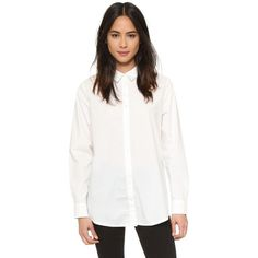 Cheap Monday Disarm Shirt ($100) ❤ liked on Polyvore featuring tops, white, button down collar shirts, oversized long sleeve shirts, white long sleeve top, white button up shirt and button down shirt
