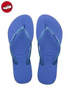Damen Flip Flops Slim Logo Metallic Grösse 43/44 EU (41/42 Brazilian) Blau Star Zehentrenner für Frauen Havaianas wuHTiowCcA