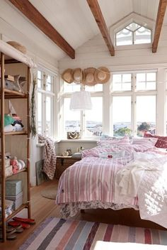 Love this airy bedroom