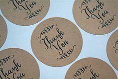 "Wedding thank you labels, stickers, envelope seals. 2"" round stickers, 20. Matte white or Kraft brown."