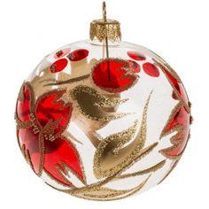 Boule de Noel transparente fleur rouge or 8 cm