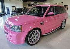 Range Rover Sport Pink - Girly Cars for Female Drivers! Love Pink Cars ♥ It's the dream car for every girl. Maserati, Bugatti, Pink Range Rovers, Range Rover Sport, Pink Lady, Pink Girl, Ford Raptor, G Wagon, My Dream Car
