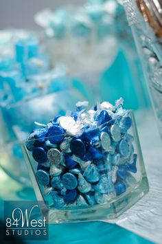 Hershey kisses in blue and silver Sweet 16                                                                                                                                                                                 More Blue Birthday, Sweet 16 Birthday, 50th Birthday Party, Birthday Party Decorations, Birthday Ideas, Cinderella Sweet 16, Sweet 16 Decorations, Winter Wonderland Party, Sweet Sixteen Parties