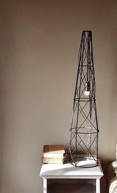 DIY Industrial Lamp from Tomato cage and light kit