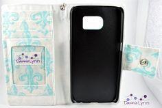 Samsung Galaxy S6 Wallet Case  Blue by DawnieLynnCrafts