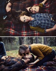 gorgeous engagement photos - I love the plaid flannel blanket.