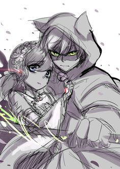 thelazyfluffybunny:  Kinda has this idea from listening to Tsubasa Chronicle's soundtrack - w -;; and pictured Chat Noir(Adrien) protecting his Princess~ Marinette's dress was inspired from dresses worn by Chinese princesses Kinda thinking of continuing this piece or not xDD