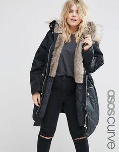 Image 1 ofASOS CURVE Parka with Detachable Faux Fur