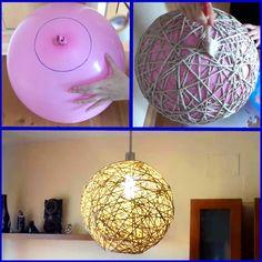 Haz tu propio diseño de las lámparas de cuerda y globos Home Crafts, Diy Home Decor, Diy And Crafts, Decor Room, Lampe Ballon, Chandelier Art, Diy Rangement, Light Crafts, Diy Canvas
