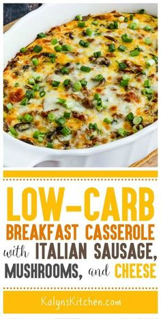 Anyone who likes Italian Sausage will SWOON over this Low-Carb Breakfast Casserole with Italian Sausage, Mushrooms, and Cheese! And this low-carb breakfast casserole is also low-glycemic and gluten-fr Low Carb Breakfast Casserole, Breakfast Recipes, Italian Sausage Breakfast Recipe, Dessert Recipes, No Egg Breakfast, Mcdonalds Breakfast, Low Carb Breakfast Easy, Italian Breakfast, Sweet Breakfast