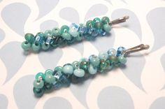 Caribbean Blue beaded bobby pins by JMEBeads on Etsy, $7.00
