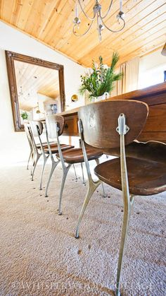 WhisperWood Cottage: Vintage Industrial Chairs in the Cottage Dining Room