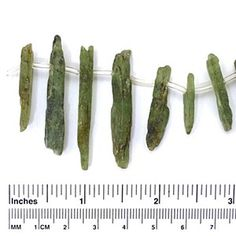 Green Kyanite Sticks Unpolished and Rough How To Make Beads, Rough Cut, Natural Materials, Fossils, Sticks, Gemstones, Green, Gems, Fossil