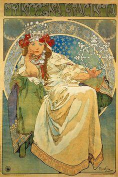 Princess Hyacinth by Alphonse Mucha, Art Nouveau/Art Deco Mucha Art Nouveau, Alphonse Mucha Art, Art Nouveau Poster, Mucha Artist, Posters Vintage, Retro Poster, Vintage Art, Art Posters, Poster Art