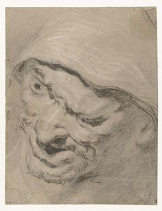 Manskop, Peter Paul Rubens, Jacob Jordaens (I), 1587-1640; zwart en wit krijt op bruin papier, 264x203mm