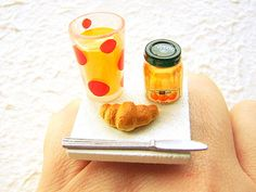 Cute Food Ring Breakfast Orange Juice Croissant Miniature Food Jewelry / souzou creations.