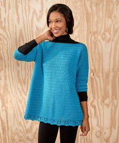 Relax-and-Unwind Sweater Free Crochet Pattern. Skill Level: Easy This crochet sweater gives you a roomy, relaxed attitude while looking great! Lower border detail adds just the right finish with easy cluster stitches. Lightweight yarn can be worn with a tank in warmer weather or a turtleneck in cooler weather. Pattern is given for sizes X-Small to 3X. Materials: RED HEART® Fashion Soft™: 4 (5, 5, 5, 6, 6, 7) balls 4515 Caribbean Susan Bates® Crochet Hook: 4.5mm Yarn needle Free Pattern More…
